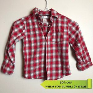 Carter's Red Plaid Button Up Shirt - Size 4Y